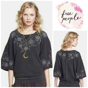 Free People Fairy Flare Embroidered Grey Pullover